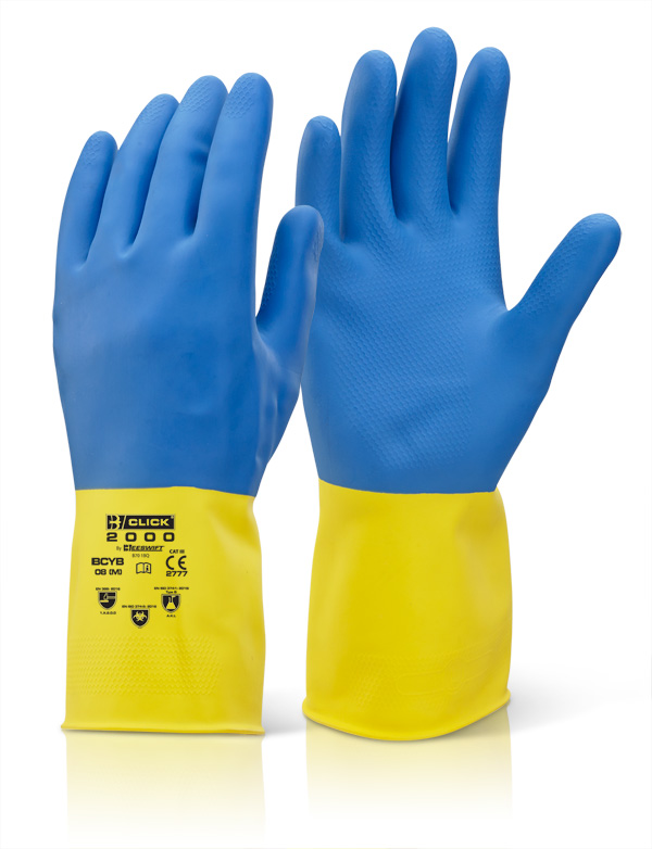 2 COLOUR HEAVYWEIGHT GLOVE YELLOW/BLUE - BCYBL