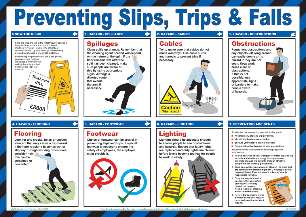 PREVENTING SLIPS TRIPS POSTER  - BSS13214