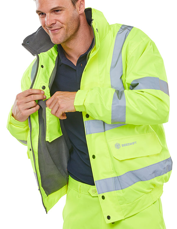 HIGH VISIBILITY FLEECE LINED BOMBER JACKET - CBJFLSY