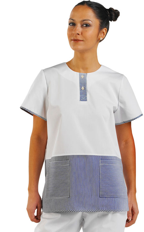 LADIES TUNIC BLUE STRIP - CCLTBSW