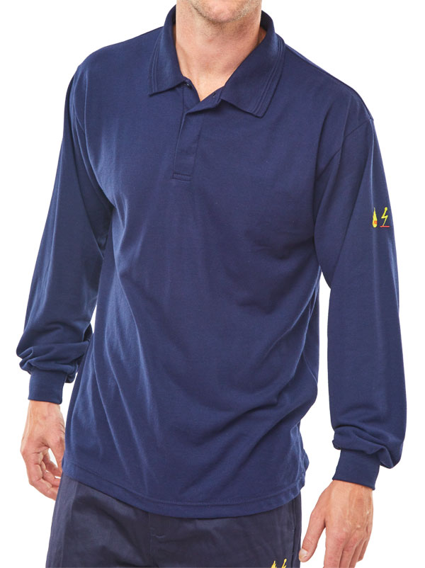 04ebc1763a6b CLICK FLAME RETARDANT ANTI-STATIC LONG SLEEVE POLO NAVY BLUE CODE   CFRPSLSASN
