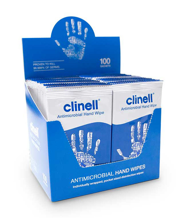 CLINELL ANTIBACTERIAL HAND WIPES INDIVIDUALLY WRAPPED - CM1903