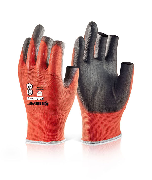 PU COATED 3 FINGERLESS GLOVE - EC10