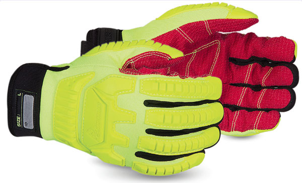 CLUTCH GEAR® ANTI-IMPACT HI-VIZ YELLOW BACK MECHANICS OILFIELD GLOVE WITH CUT-RESISTANT PALMS - SUMXHV5VSB