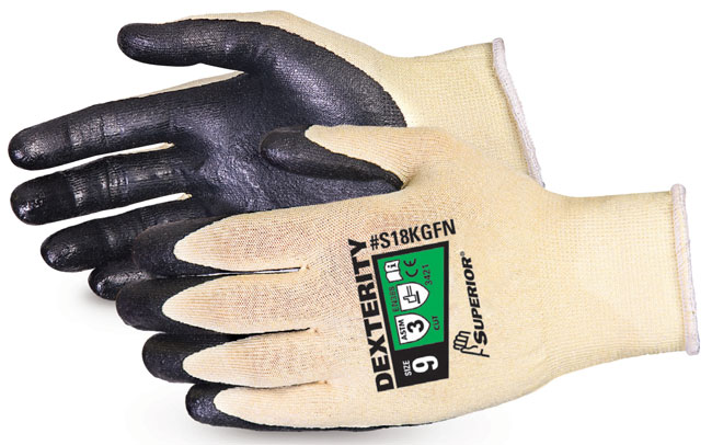 DEXTERITY® ULTRAFINE 18-GAUGE CUT-RESISTANT KEVLAR® GLOVE WITH FOAM NITRILE PALM - SUS18KGFN