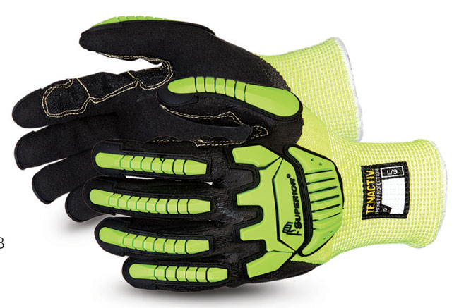 TENACTIV CUT-RESISTANT ANTI-IMPACT HI-VIZ GLOVE MADE WITH MICROPORE NITRILE GRIP  - SUSHVPNFBVB