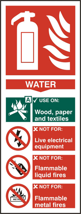 FIRE EXTINGUISHER WATER SIGN - BSS12309